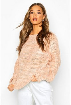 Womens Camel Balloon Sleeve Marl Mix Jumper