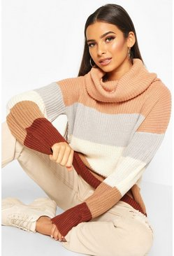 Camel Roll Neck Colour Block Oversized Jumper