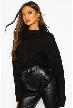 Womens Black Cowl Roll Neck Oversized Jumper