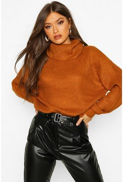 Womens Turmeric Cowl Roll Neck Oversized Jumper