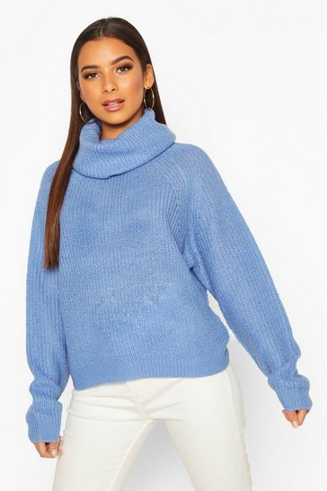 Womens Blue Cowl Roll Neck Oversized Jumper