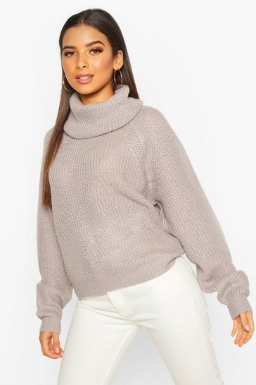 Womens Crystal Cowl Roll Neck Oversized Jumper