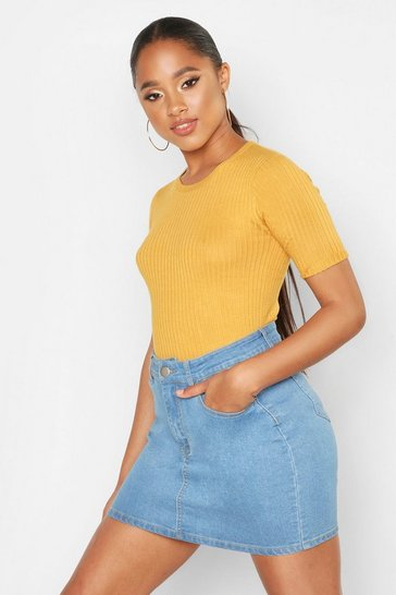 Womens Mustard Rib Knit Short Sleeve Top