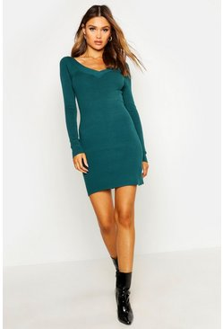 Dam Teal V Neck Rib Knit Mini Dress