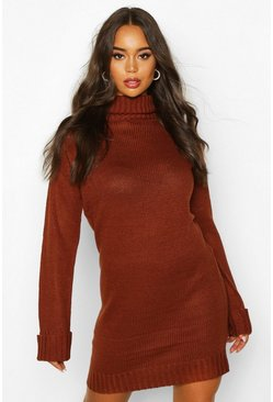 Brown Roll Neck Wide Sleeve Jumper Dress