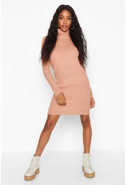 Womens Dusky pink Roll Neck Rib Knit Mini Dress