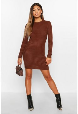 Womens Mocha Rib Knit Mini Dress