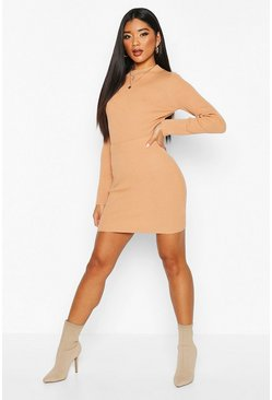 Womens Camel Crop Jumper Mini Skirt Knitted Set