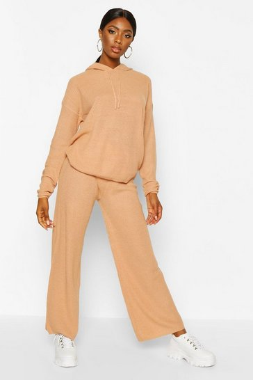 Womens Camel Wide Leg Hooded Knitted Set