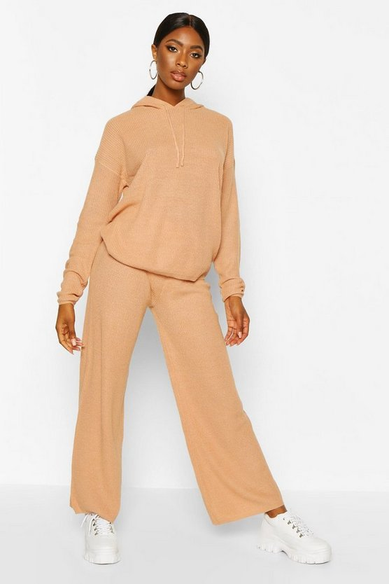 Wide Leg Hooded Knitted Set