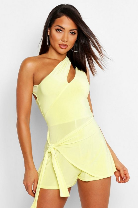 Womens Lemon Cut Out Neckline Tie Wrap Romper