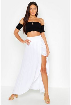 Womens White Cheesecloth Shirred Waist Maxi Skirt