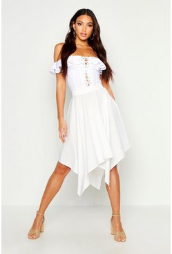 Womens White Hanky Hem Midi Skirt