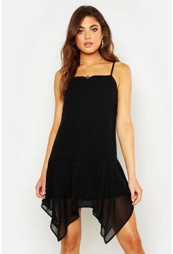 Womens Black Square Neck Hanky Hem Mini Dress