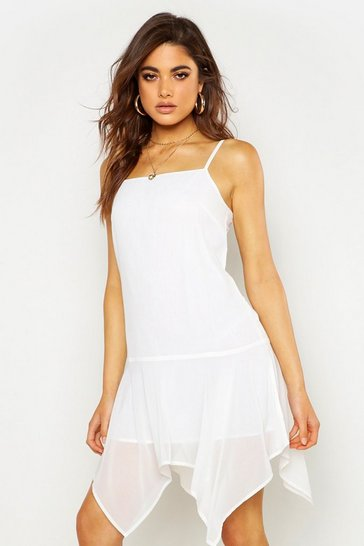 Womens White Square Neck Hanky Hem Mini Dress