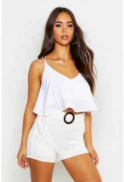 Womens White Double Strap Cami Top