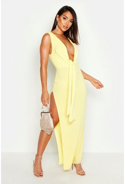Womens Lemon Split Tie Front Plunge Maxi Dress