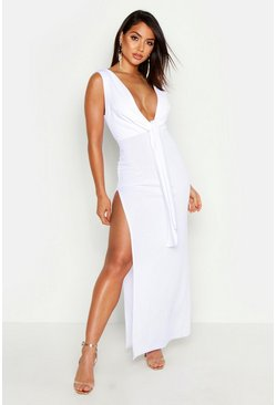 Womens White Split Tie Front Plunge Maxi Dress