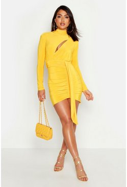 Womens Yellow High Neck Gathered Cut Out Bodycon Mini Dress