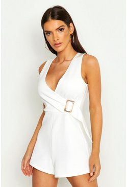 Womens White Buckle Detail Wrap Playsuit