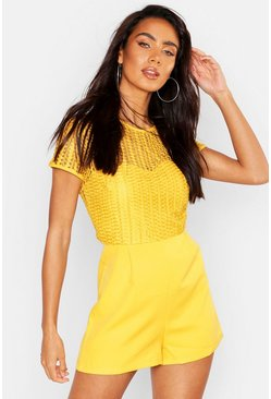 Womens Mustard Contrast Detail Lace PLaysuit