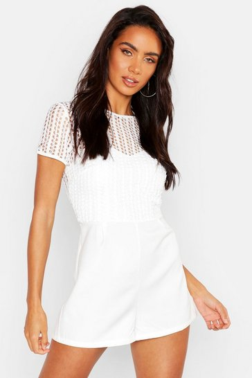 Womens White Contrast Detail Lace PLaysuit
