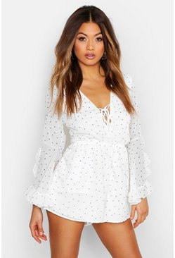 Womens White Polka Dot Flare Ruffle Sleeve Playsuit