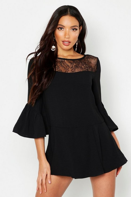 Womens Black Lace Panel Flare Sleeve Playsuit