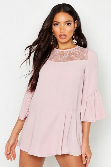 Womens Pink Lace Panel Flare Sleeve Playsuit