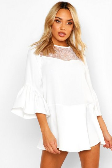 Womens White Lace Panel Flare Sleeve Playsuit