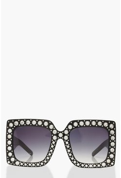 Womens Black Extreme Oversized Diamante Sunglasses