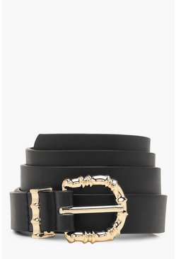 Womens Black Bamboo Buckle Boyfriend Belt