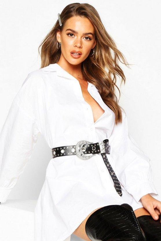 Womens Black Diamante Oversized Western Buckle Belt