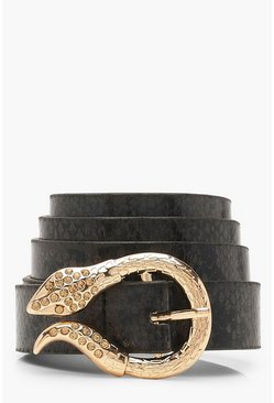 Womens Black Snake Buckle Faux Snake Belt