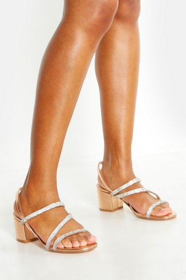 Womens Rose gold Diamante Strappy Low Block Heels