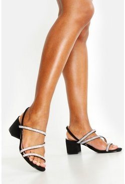Womens Black Diamante Strappy Low Block Heels