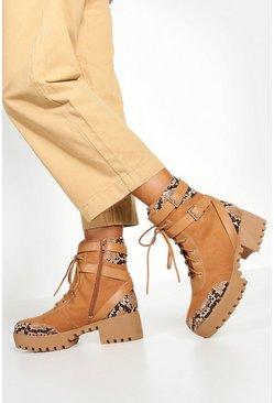 Dam Brown Studded Chunky Hiker Boots