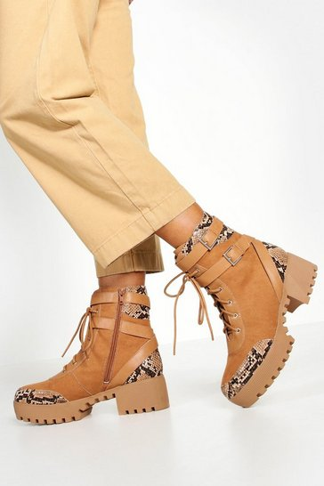 Womens Brown Studded Chunky Hiker Boots