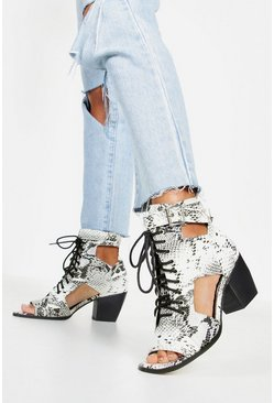 Grey Snake Cut Work Peeptoe Shoe Boots