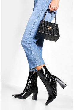 Black Croc Square Toe Block Heel Sock Boots