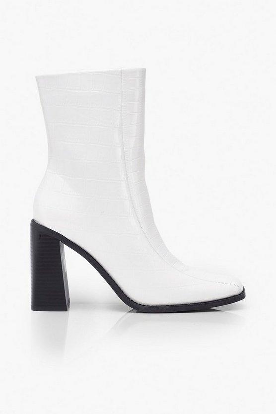 Croc Square Toe Block Heel Sock Boots