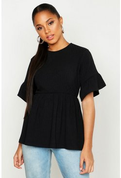 Black Ribbed Frill Sleeve Smock Top