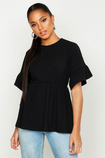 Womens Black Ribbed Frill Sleeve Smock Top
