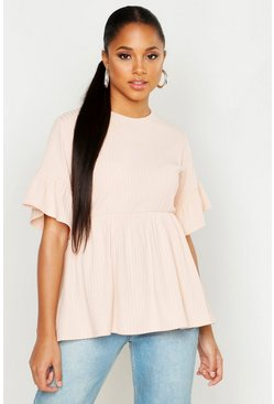 Womens Blush Ribbed Frill Sleeve Smock Top