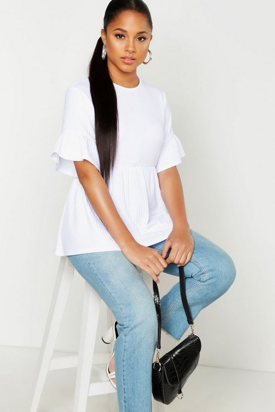 Womens White Ribbed Frill Sleeve Smock Top
