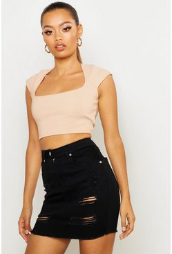 Womens Black Distressed Frayed Hem Denim Mini Skirt