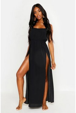 Womens Black Strappy Chiffon Beach Maxi Dress