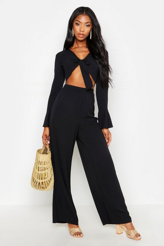 Womens Black Tie Front Crop + Trouser Beach Co-Ord