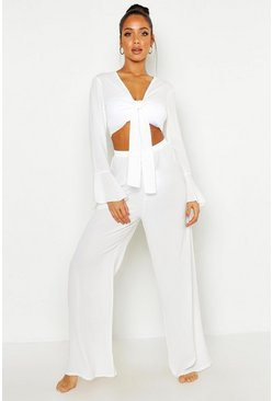 Womens White Tie Front Crop + Pants Beach Co-Ord