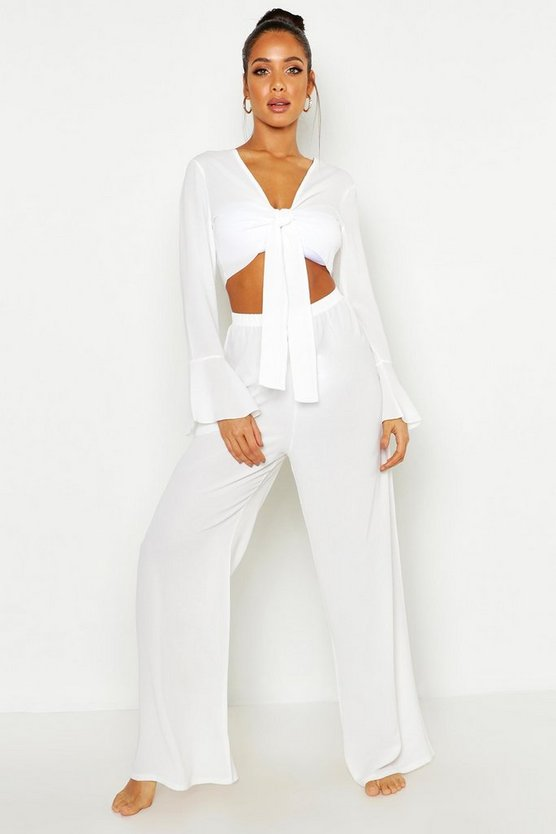 Womens White Tie Front Crop + Trouser Beach Co-Ord
